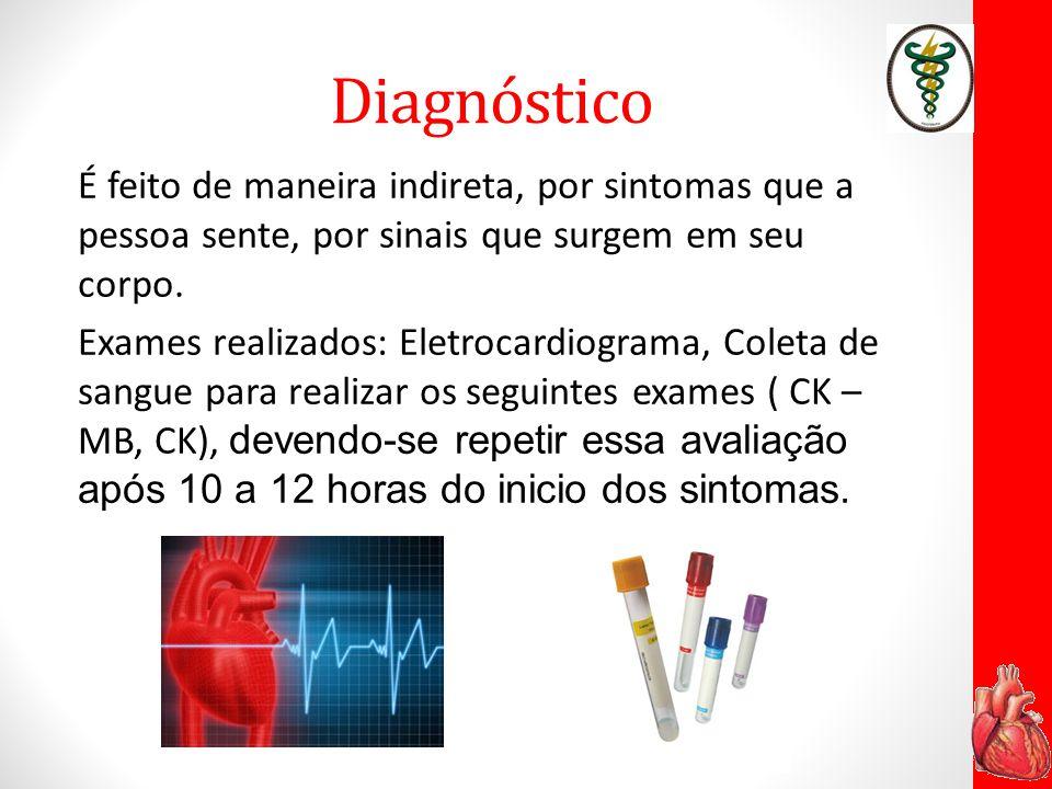 Diagnóstico É feito de maneira indireta, por sintomas que a pessoa sente, por sinais que surgem em seu corpo. Exames realizados: Eletrocardiograma, Co