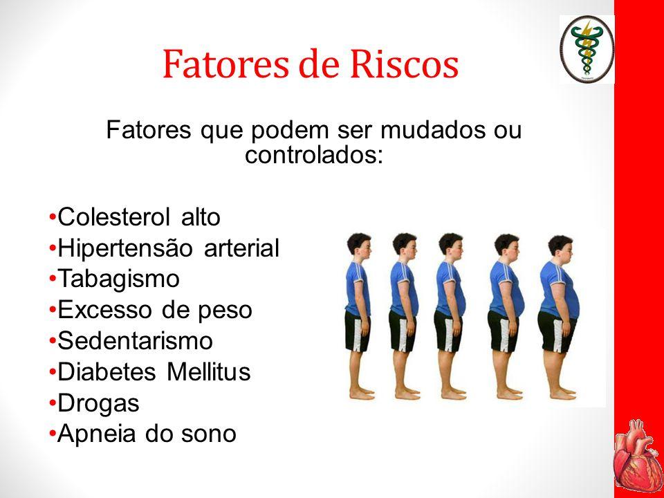 Fatores de Riscos Fatores que podem ser mudados ou controlados: Colesterol alto Hipertensão arterial Tabagismo Excesso de peso Sedentarismo Diabetes M