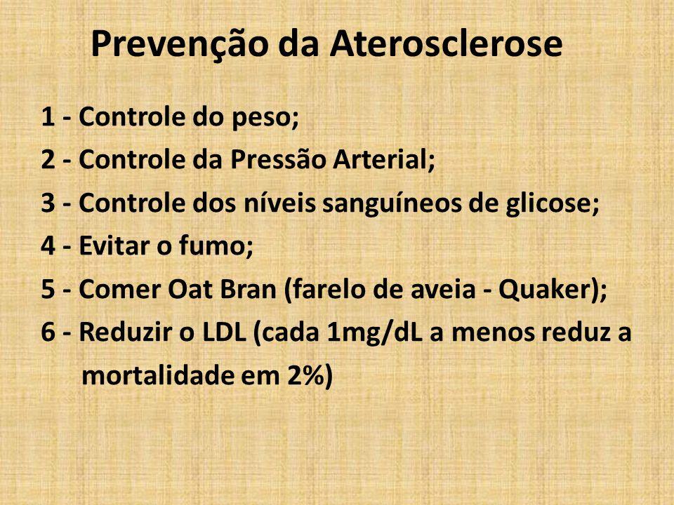 Prevenção da Aterosclerose 1 - Controle do peso; 2 - Controle da Pressão Arterial; 3 - Controle dos níveis sanguíneos de glicose; 4 - Evitar o fumo; 5
