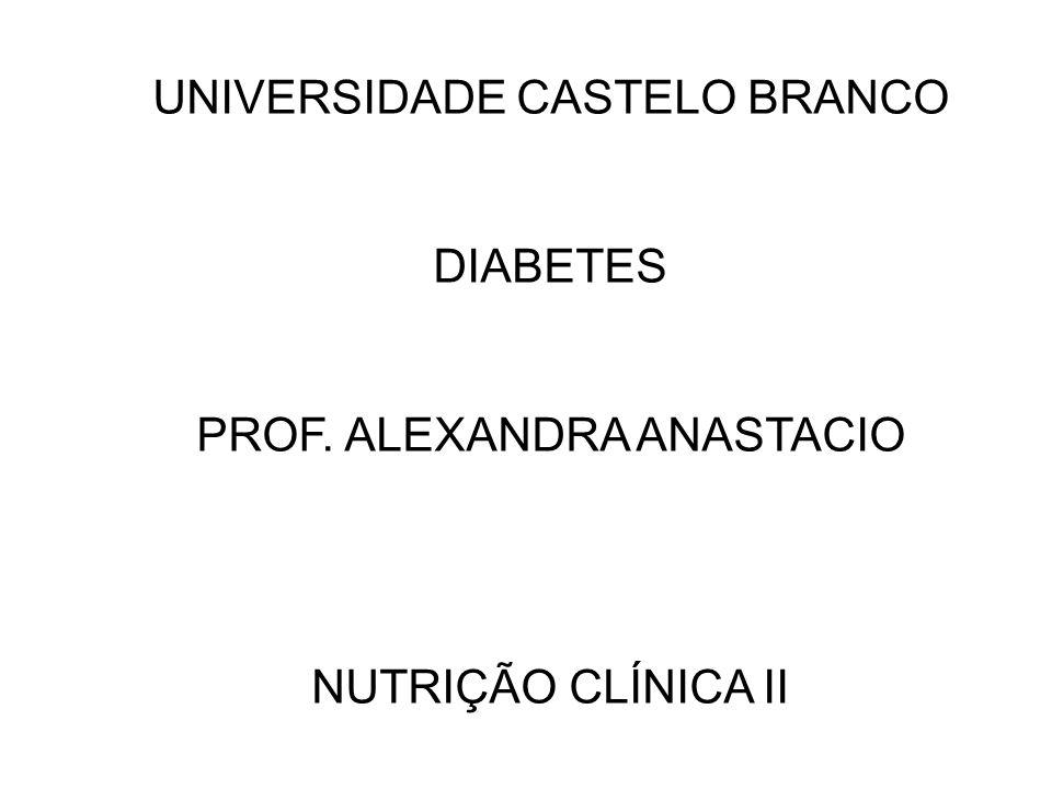 UNIVERSIDADE CASTELO BRANCO DIABETES PROF. ALEXANDRA ANASTACIO NUTRIÇÃO CLÍNICA II