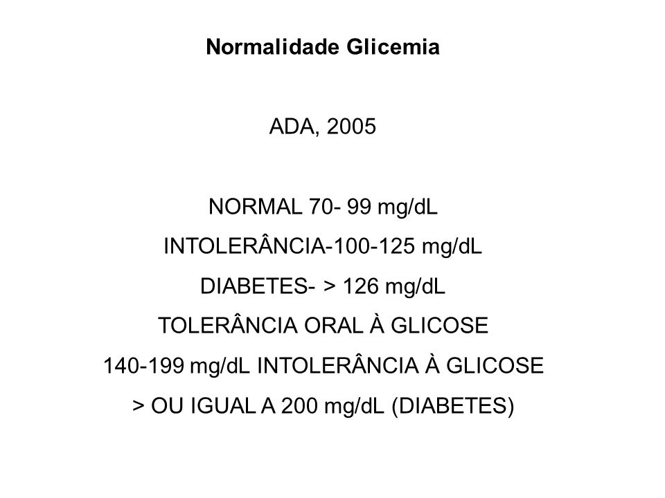 Normalidade Glicemia ADA, 2005 NORMAL 70- 99 mg/dL INTOLERÂNCIA-100-125 mg/dL DIABETES- > 126 mg/dL TOLERÂNCIA ORAL À GLICOSE 140-199 mg/dL INTOLERÂNC