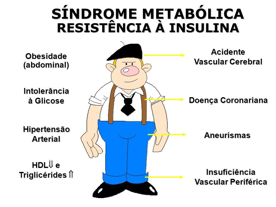 Intolerância à Glicose Insuficiência Vascular Periférica HipertensãoArterial Acidente Vascular Cerebral Doença Coronariana Aneurismas HDL  e Triglicérides  Obesidade(abdominal) SÍNDROME METABÓLICA RESISTÊNCIA À INSULINA