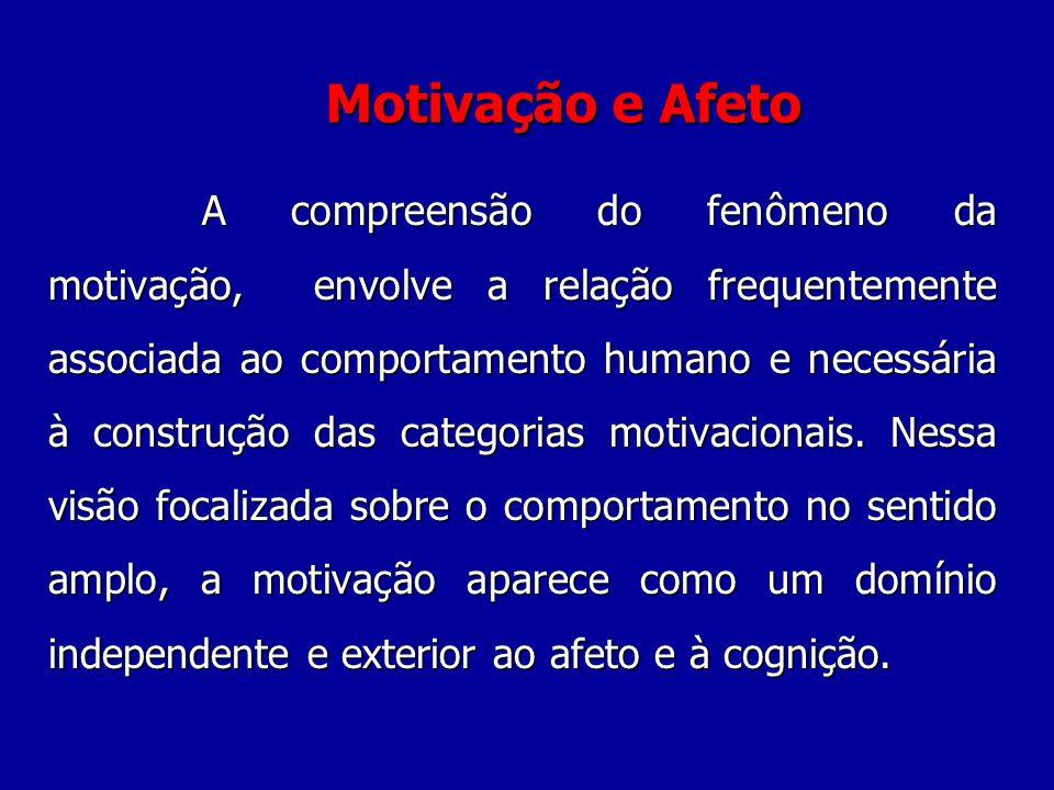 Motivação e Afeto A A compreensão do fenômeno da motivação, envolve a relação frequentemente associada ao comportamento humano e necessária à construção das categorias motivacionais.