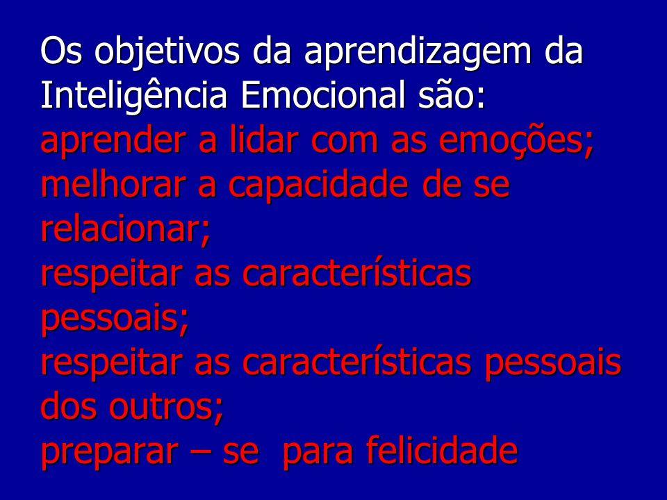 Os objetivos da aprendizagem da Inteligência Emocional são: aprender a lidar com as emoções; melhorar a capacidade de se relacionar; respeitar as características pessoais; respeitar as características pessoais dos outros; preparar – se para felicidade