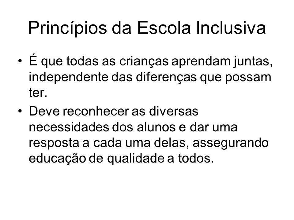 Princípios da Escola Inclusiva É que todas as crianças aprendam juntas, independente das diferenças que possam ter. Deve reconhecer as diversas necess