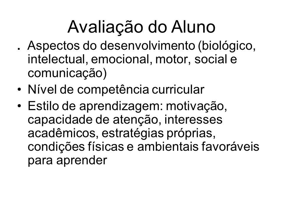 Avaliação do Aluno. Aspectos do desenvolvimento (biológico, intelectual, emocional, motor, social e comunicação) Nível de competência curricular Estil