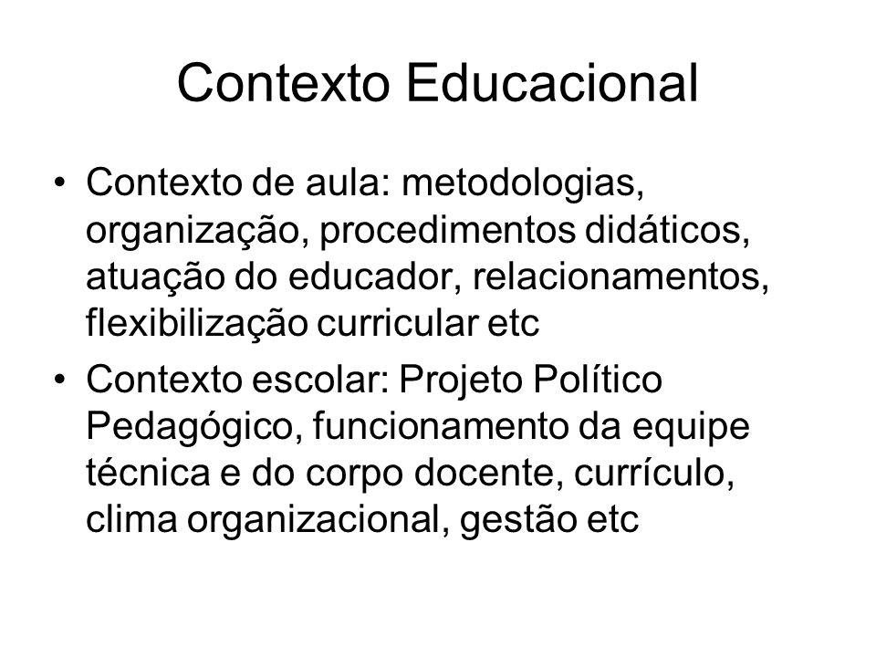 Contexto Educacional Contexto de aula: metodologias, organização, procedimentos didáticos, atuação do educador, relacionamentos, flexibilização curric