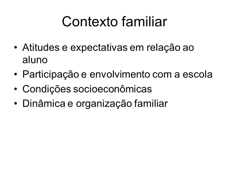 Contexto familiar Atitudes e expectativas em relação ao aluno Participação e envolvimento com a escola Condições socioeconômicas Dinâmica e organizaçã