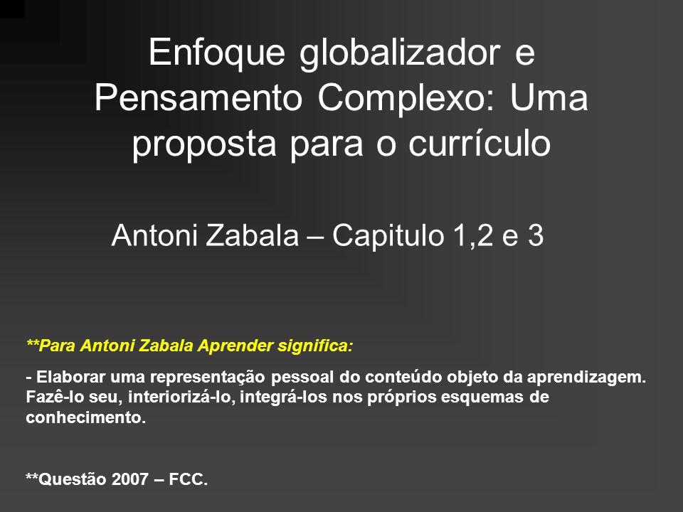Enfoque globalizador e Pensamento Complexo: Uma proposta para o currículo Antoni Zabala – Capitulo 1,2 e 3 **Para Antoni Zabala Aprender significa: - Elaborar uma representação pessoal do conteúdo objeto da aprendizagem.