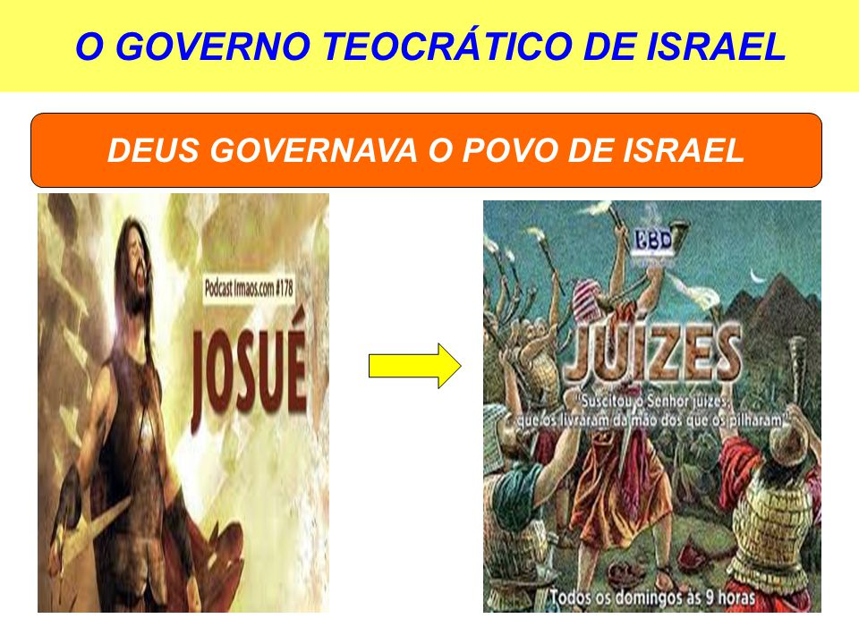 O GOVERNO TEOCRÁTICO DE ISRAEL DEUS GOVERNAVA O POVO DE ISRAEL