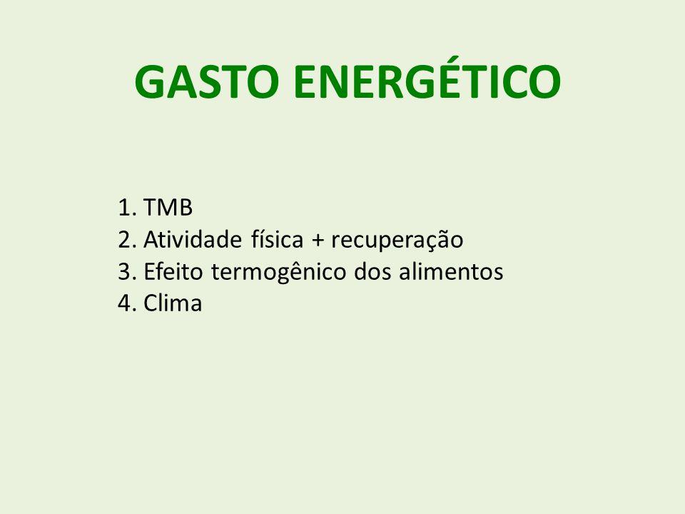 GASTO ENERGÉTICO 1.TMB 2.Atividade física + recuperação 3.Efeito termogênico dos alimentos 4.Clima