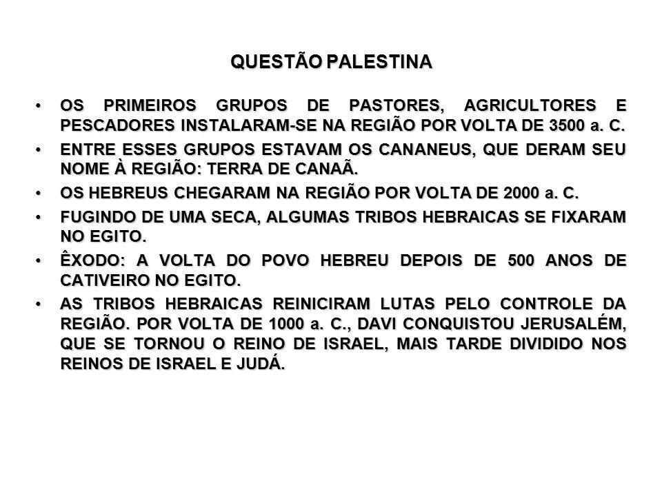 QUESTÃO PALESTINA OS PRIMEIROS GRUPOS DE PASTORES, AGRICULTORES E PESCADORES INSTALARAM-SE NA REGIÃO POR VOLTA DE 3500 a.