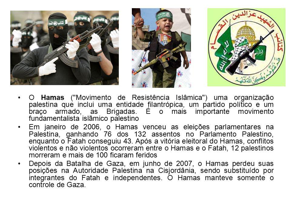 O Hamas ( Movimento de Resistência Islâmica ) uma organização palestina que inclui uma entidade filantrópica, um partido político e um braço armado, as Brigadas.