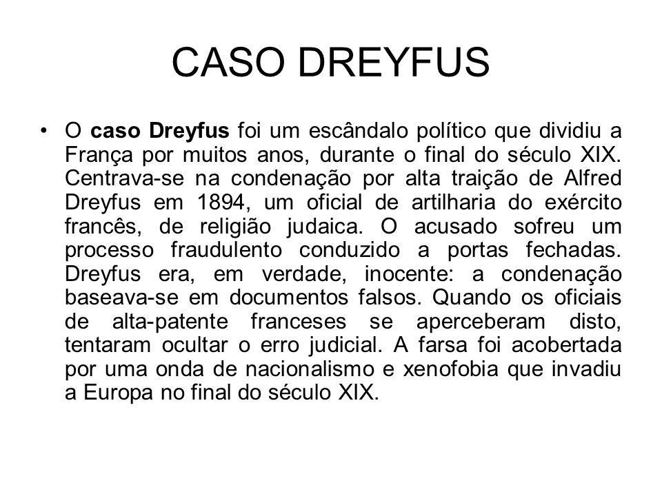 CASO DREYFUS O caso Dreyfus foi um escândalo político que dividiu a França por muitos anos, durante o final do século XIX.