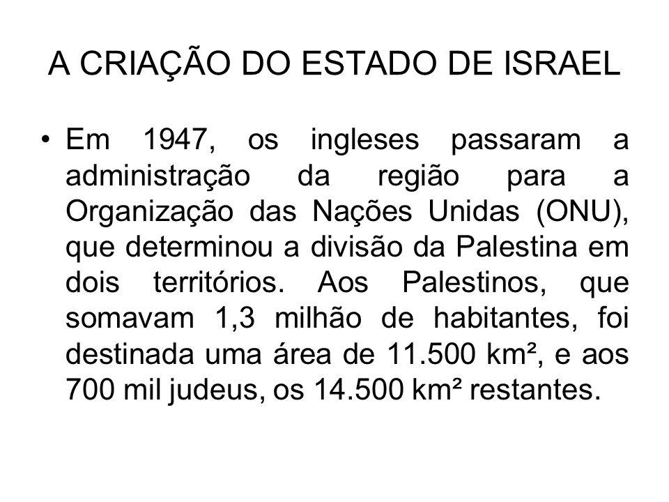 A CRIAÇÃO DO ESTADO DE ISRAEL Em 1947, os ingleses passaram a administração da região para a Organização das Nações Unidas (ONU), que determinou a divisão da Palestina em dois territórios.