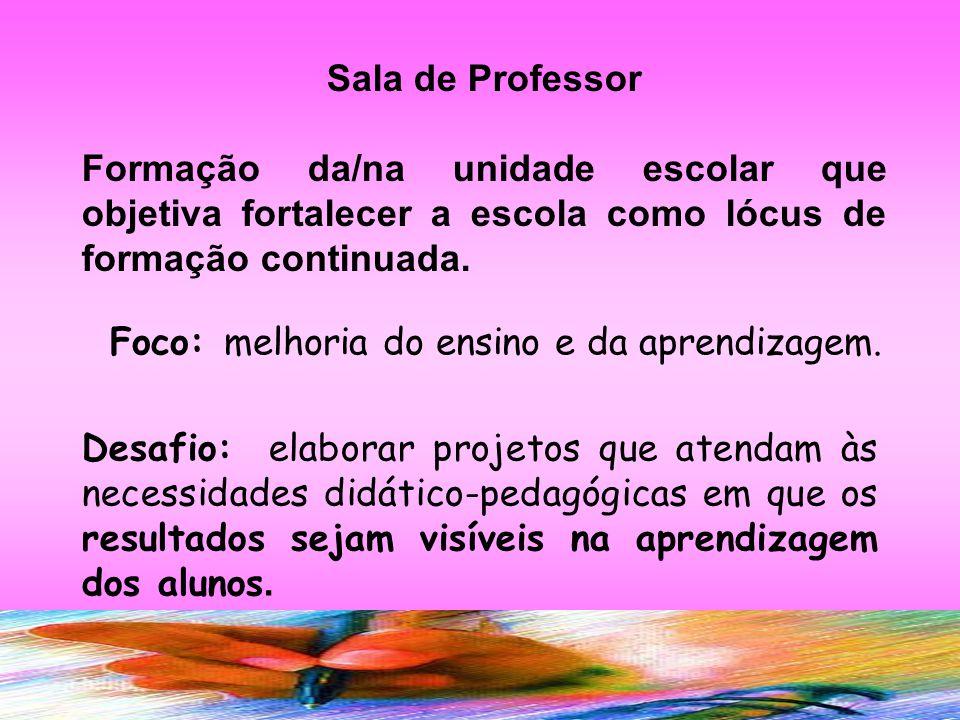EIXOS DO SALA DE PROFESSOR ENSINO melhoria da prática pedagógica APRENDIZAGEM Melhoria do desempenho dos alunos