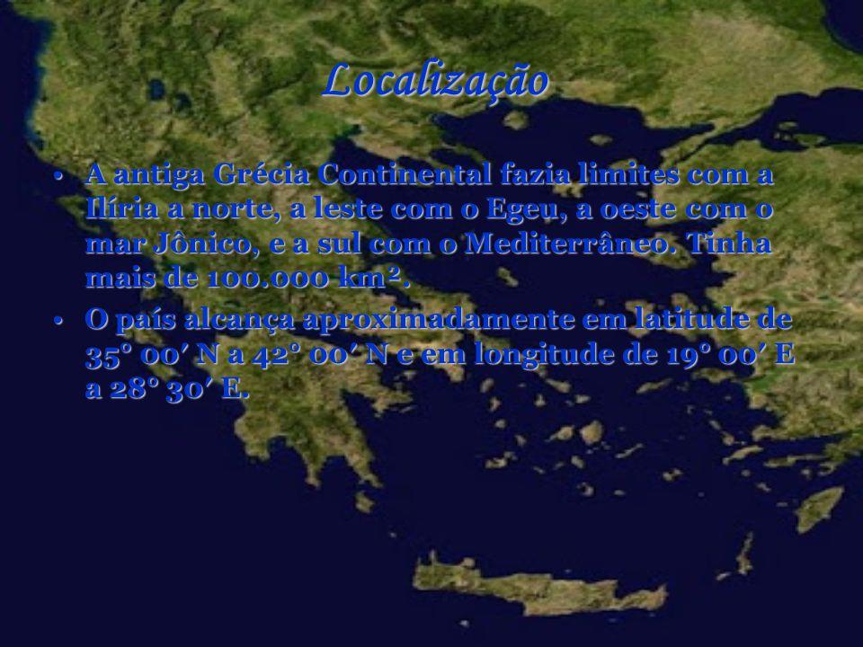 Localização A antiga Grécia Continental fazia limites com a Ilíria a norte, a leste com o Egeu, a oeste com o mar Jônico, e a sul com o Mediterrâneo.