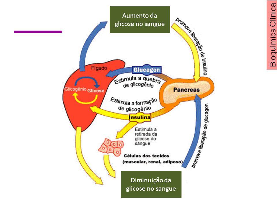 Bioquímica Clínica Aumento da glicose no sangue Diminuição da glicose no sangue
