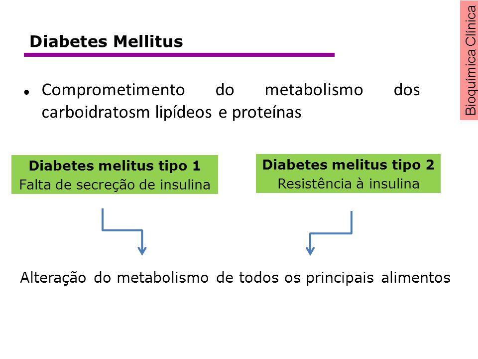 Bioquímica Clínica Diabetes melitus tipo 1 Falta de secreção de insulina Diabetes melitus tipo 2 Resistência à insulina Alteração do metabolismo de to