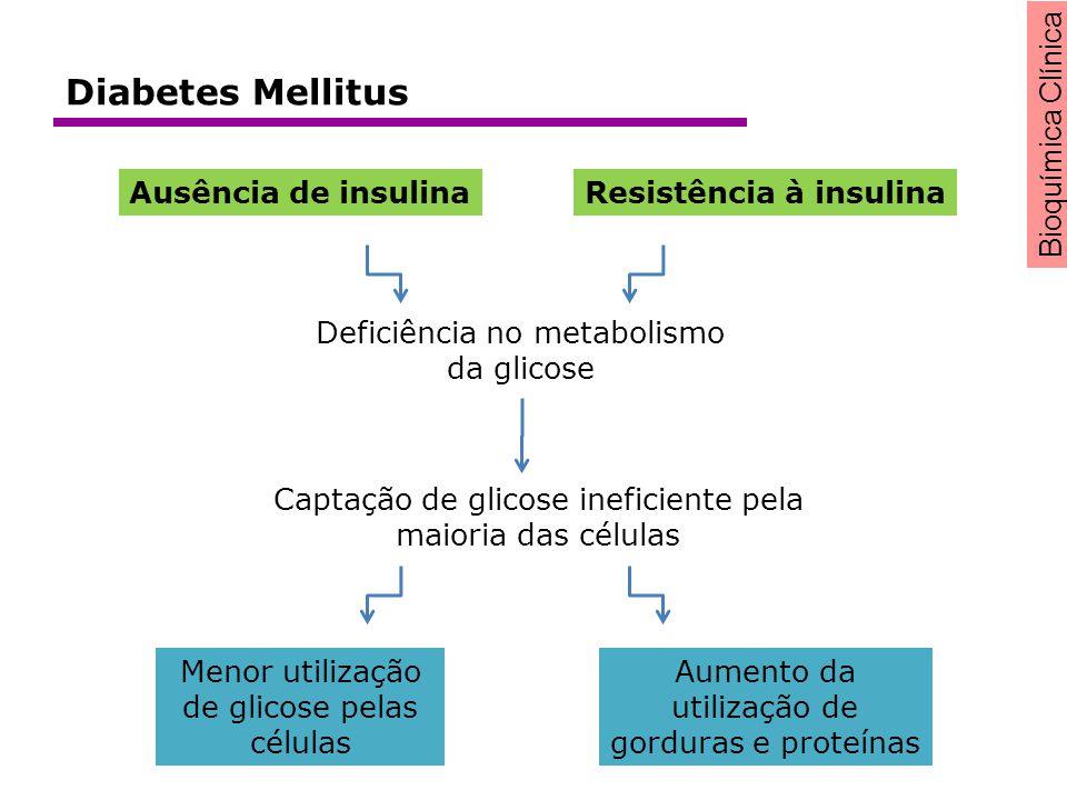 Deficiência no metabolismo da glicose Captação de glicose ineficiente pela maioria das células Menor utilização de glicose pelas células Aumento da ut