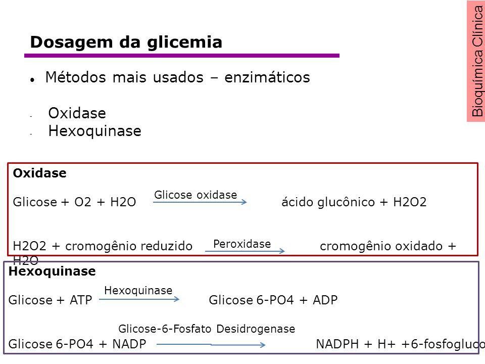 Bioquímica Clínica Métodos mais usados – enzimáticos - Oxidase - Hexoquinase Oxidase Glicose + O2 + H2O ácido glucônico + H2O2 H2O2 + cromogênio reduz