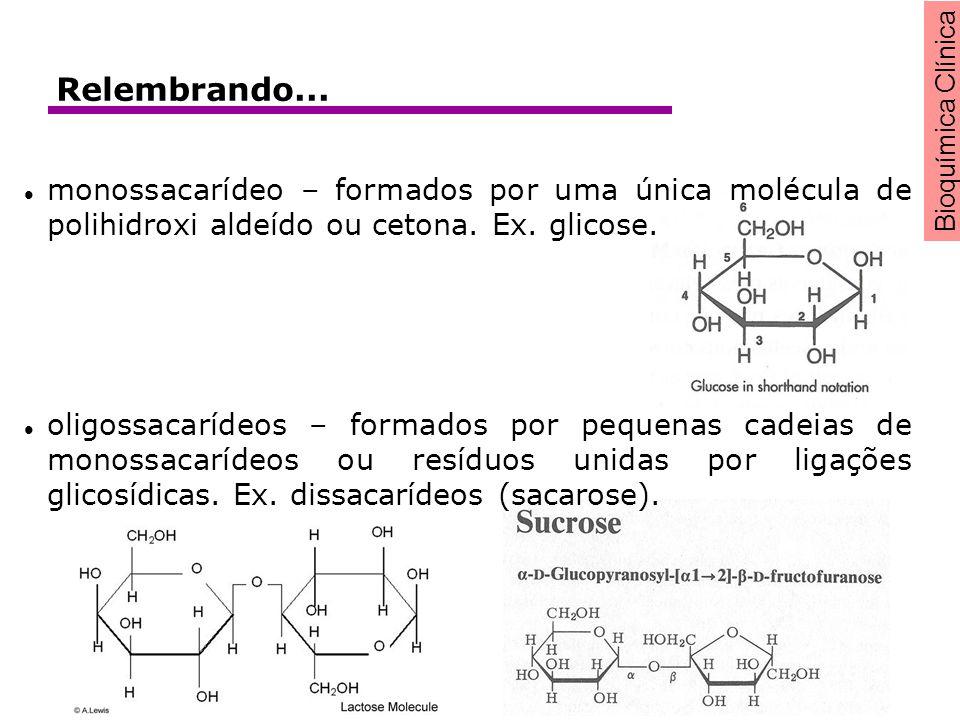 Bioquímica Clínica monossacarídeo – formados por uma única molécula de polihidroxi aldeído ou cetona. Ex. glicose. oligossacarídeos – formados por peq