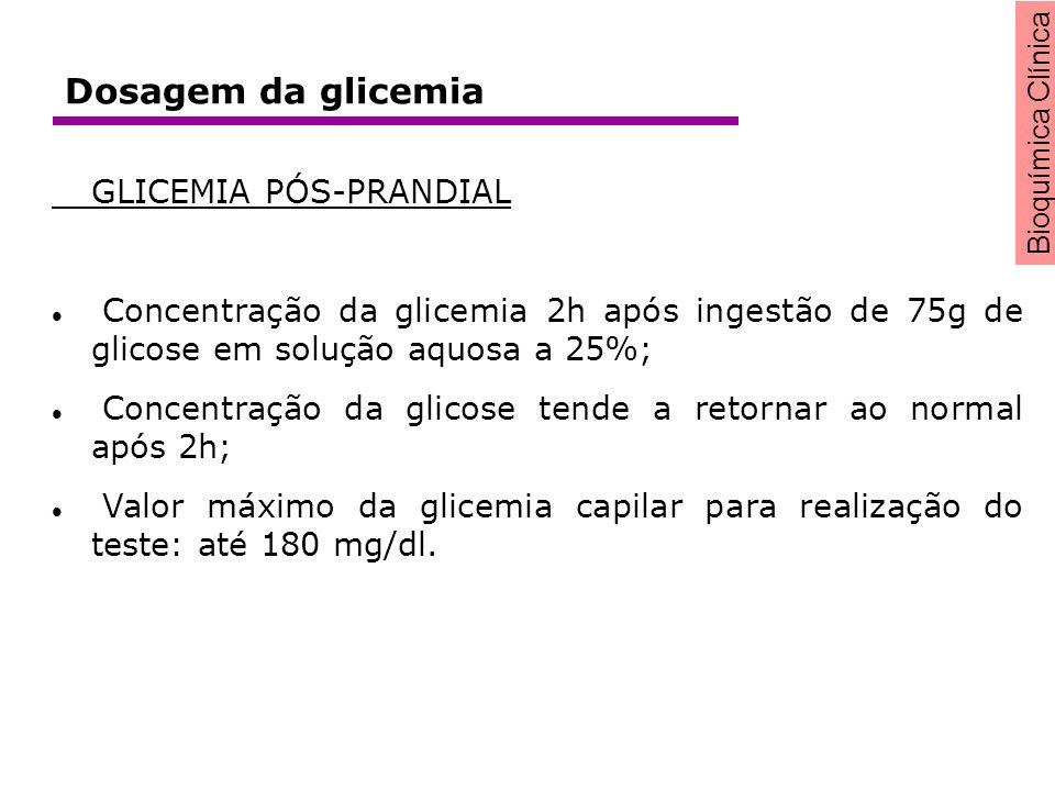 Bioquímica Clínica GLICEMIA PÓS-PRANDIAL Concentração da glicemia 2h após ingestão de 75g de glicose em solução aquosa a 25%; Concentração da glicose