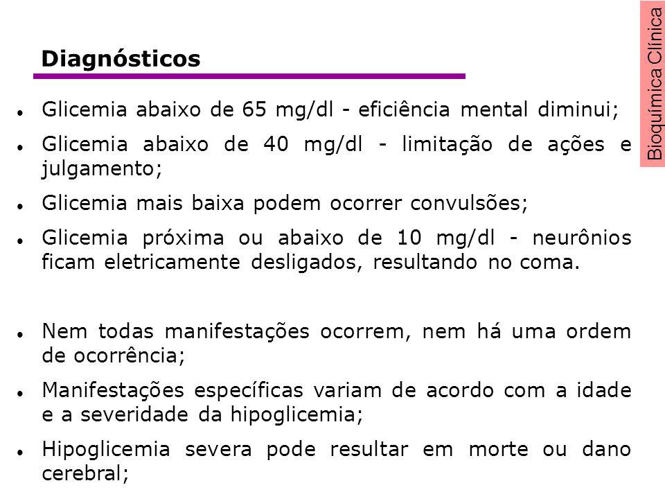 Bioquímica Clínica Glicemia abaixo de 65 mg/dl - eficiência mental diminui; Glicemia abaixo de 40 mg/dl - limitação de ações e julgamento; Glicemia ma