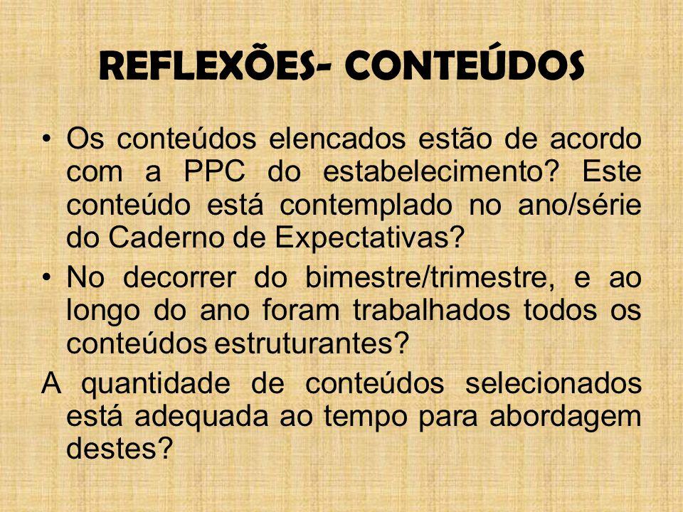 REFLEXÕES- CONTEÚDOS Os conteúdos elencados estão de acordo com a PPC do estabelecimento.