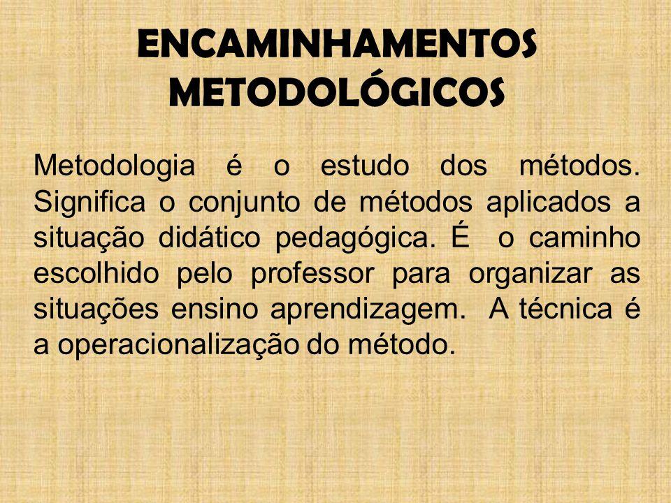ENCAMINHAMENTOS METODOLÓGICOS Metodologia é o estudo dos métodos.