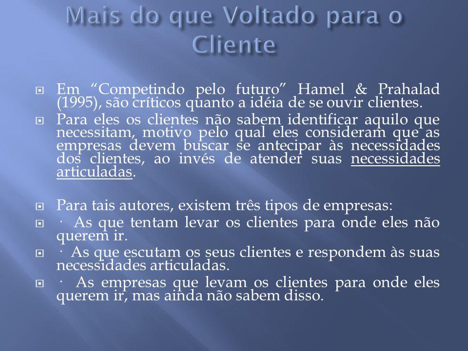  Em Competindo pelo futuro Hamel & Prahalad (1995), são críticos quanto a idéia de se ouvir clientes.