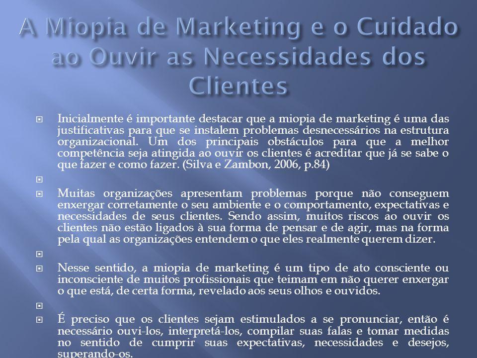  Inicialmente é importante destacar que a miopia de marketing é uma das justificativas para que se instalem problemas desnecessários na estrutura organizacional.
