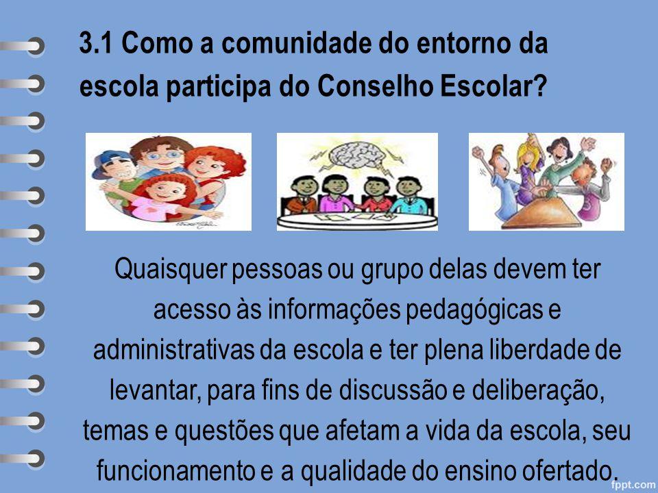 3.1 Como a comunidade do entorno da escola participa do Conselho Escolar? Quaisquer pessoas ou grupo delas devem ter acesso às informações pedagógicas