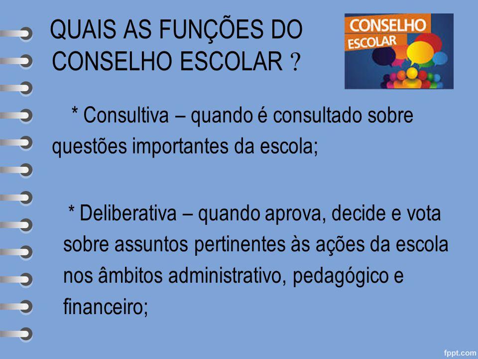 QUAIS AS FUNÇÕES DO CONSELHO ESCOLAR  * Consultiva – quando é consultado sobre questões importantes da escola; * Deliberativa – quando aprova, decide
