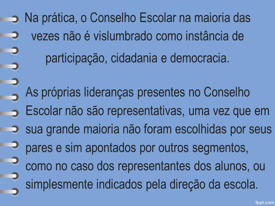 Na prática, o Conselho Escolar na maioria das vezes não é vislumbrado como instância de participação, cidadania e democracia. As próprias lideranças p