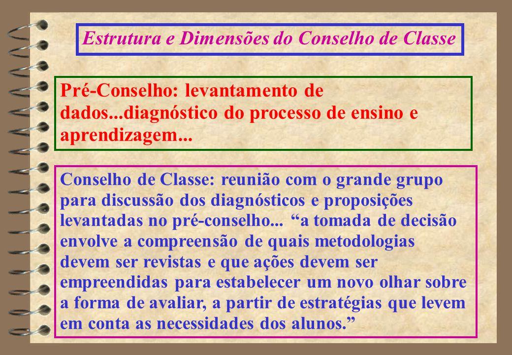 Estrutura e Dimensões do Conselho de Classe Pré-Conselho: levantamento de dados...diagnóstico do processo de ensino e aprendizagem...