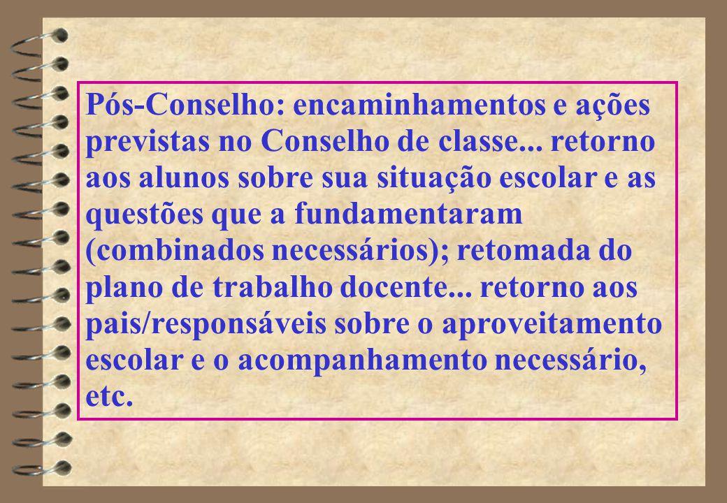Pós-Conselho: encaminhamentos e ações previstas no Conselho de classe...