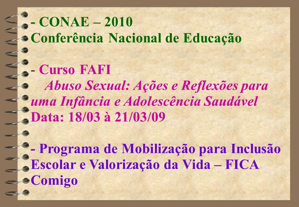 - CONAE – 2010 Conferência Nacional de Educação - Curso FAFI Abuso Sexual: Ações e Reflexões para uma Infância e Adolescência Saudável Data: 18/03 à 21/03/09 - Programa de Mobilização para Inclusão Escolar e Valorização da Vida – FICA Comigo