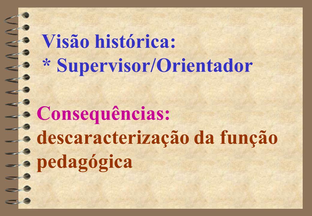 Visão histórica: * Supervisor/Orientador Consequências: descaracterização da função pedagógica