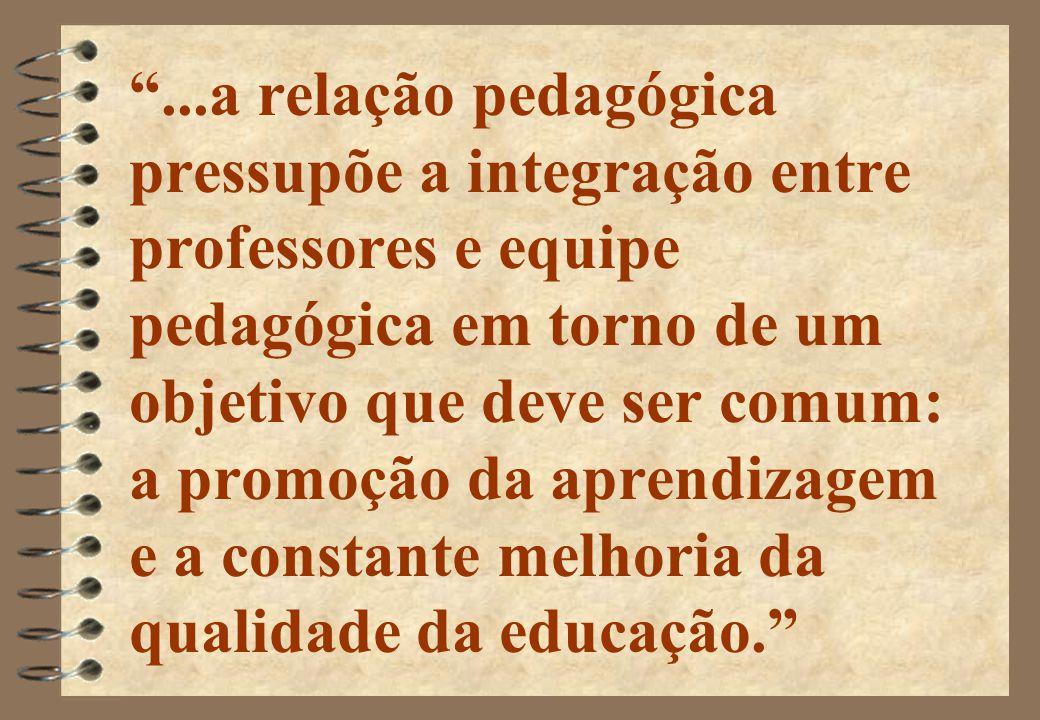 ...a relação pedagógica pressupõe a integração entre professores e equipe pedagógica em torno de um objetivo que deve ser comum: a promoção da aprendizagem e a constante melhoria da qualidade da educação.