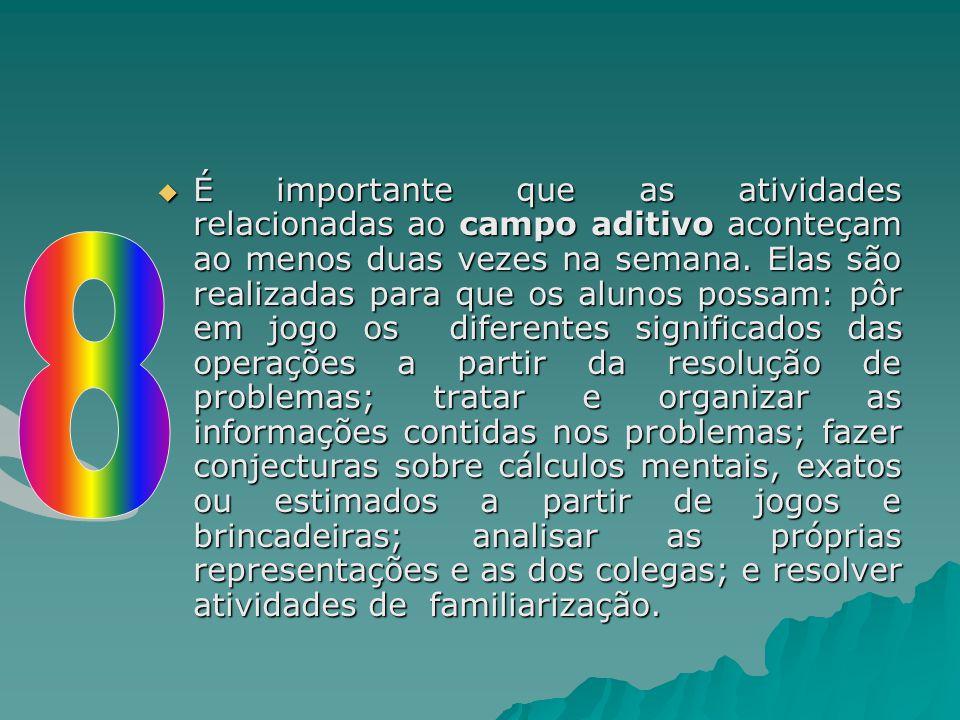  É importante que as atividades relacionadas ao campo aditivo aconteçam ao menos duas vezes na semana. Elas são realizadas para que os alunos possam: