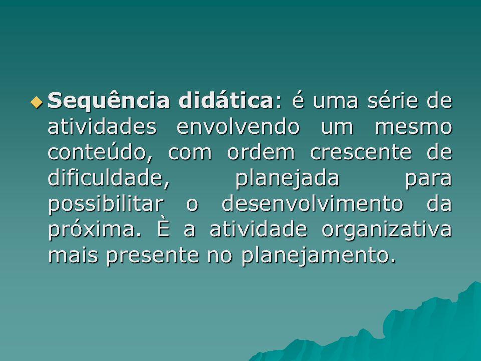  Sequência didática: é uma série de atividades envolvendo um mesmo conteúdo, com ordem crescente de dificuldade, planejada para possibilitar o desenv