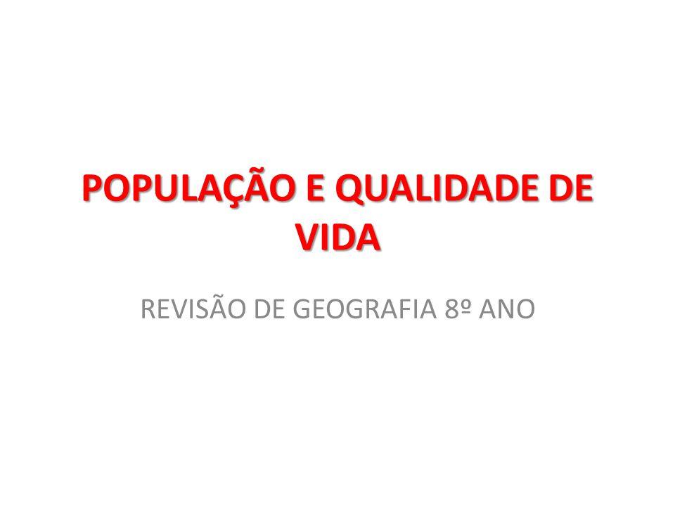 POPULAÇÃO E QUALIDADE DE VIDA REVISÃO DE GEOGRAFIA 8º ANO