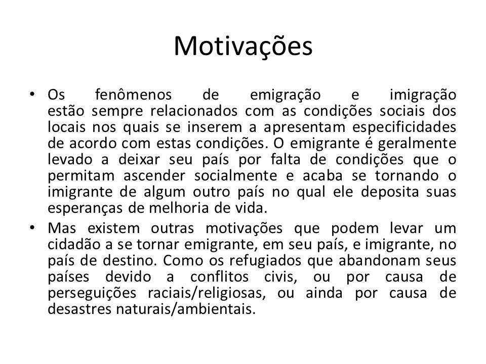 Motivações Os fenômenos de emigração e imigração estão sempre relacionados com as condições sociais dos locais nos quais se inserem a apresentam especificidades de acordo com estas condições.