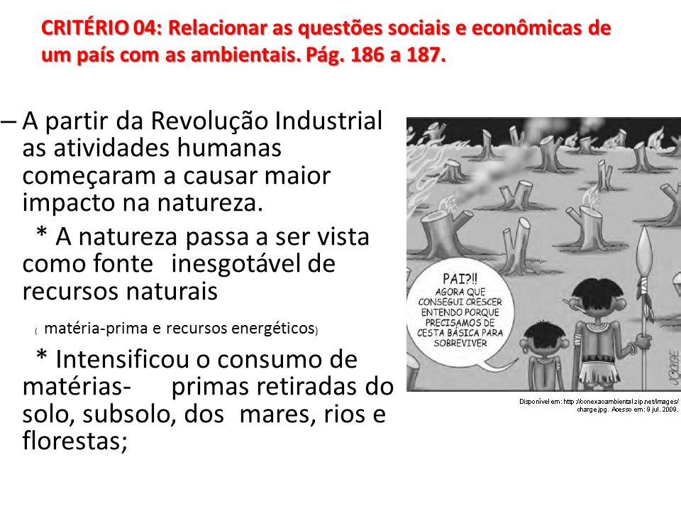 CRITÉRIO 04: Relacionar as questões sociais e econômicas de um país com as ambientais.