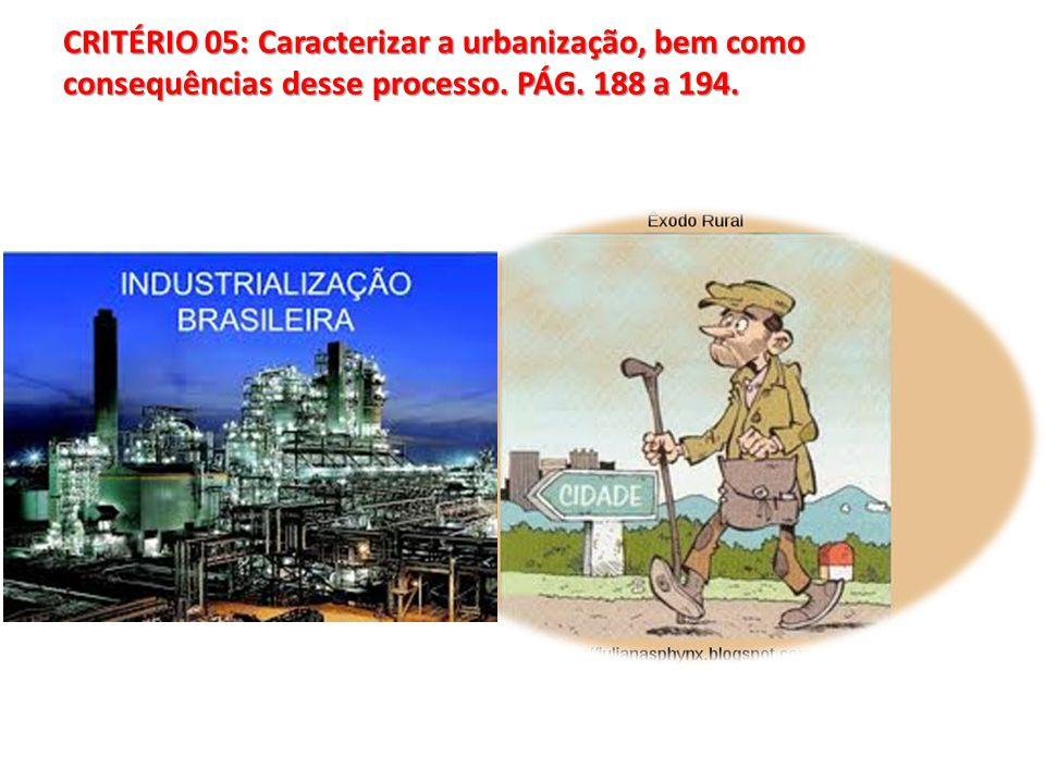 CRITÉRIO 05: Caracterizar a urbanização, bem como consequências desse processo. PÁG. 188 a 194.