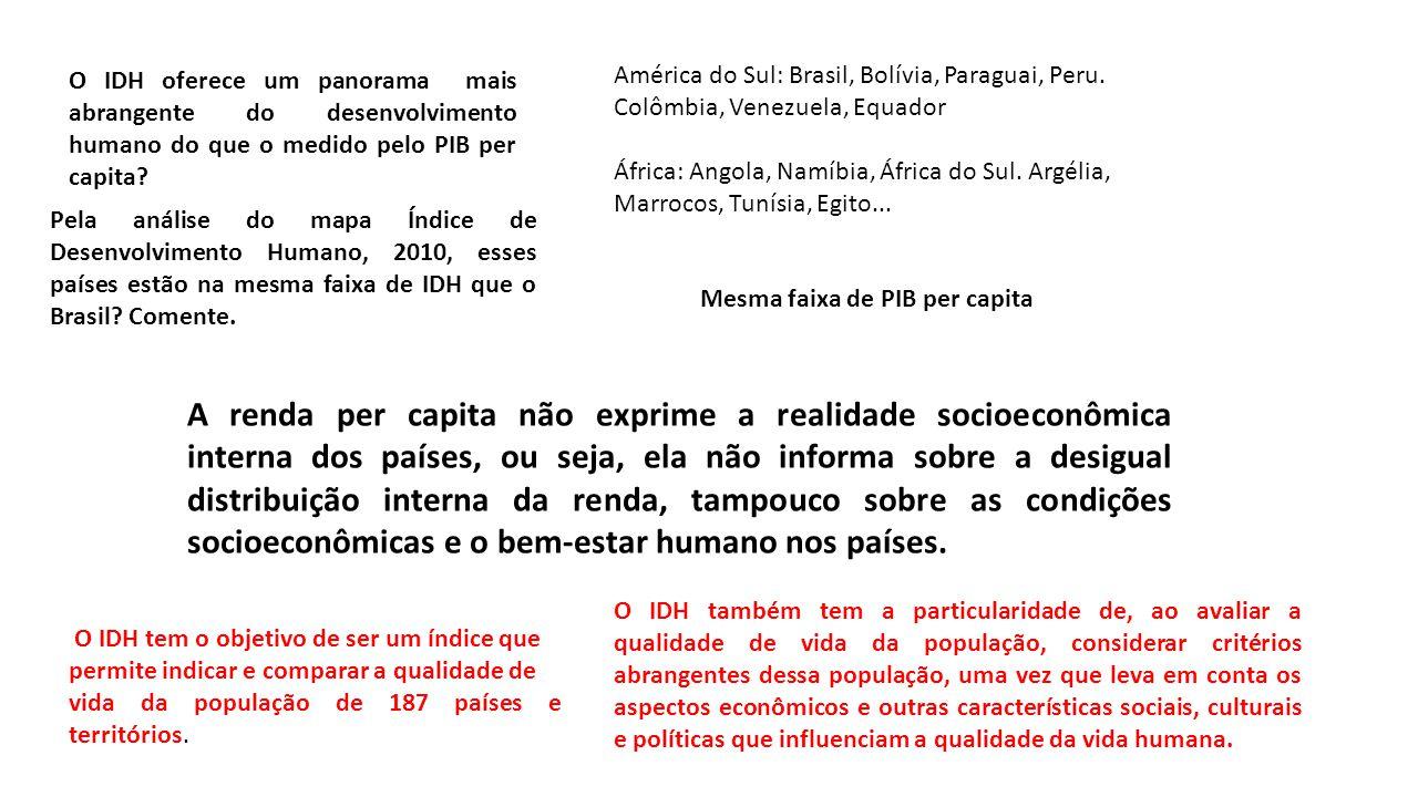 A renda per capita não exprime a realidade socioeconômica interna dos países, ou seja, ela não informa sobre a desigual distribuição interna da renda, tampouco sobre as condições socioeconômicas e o bem-estar humano nos países.