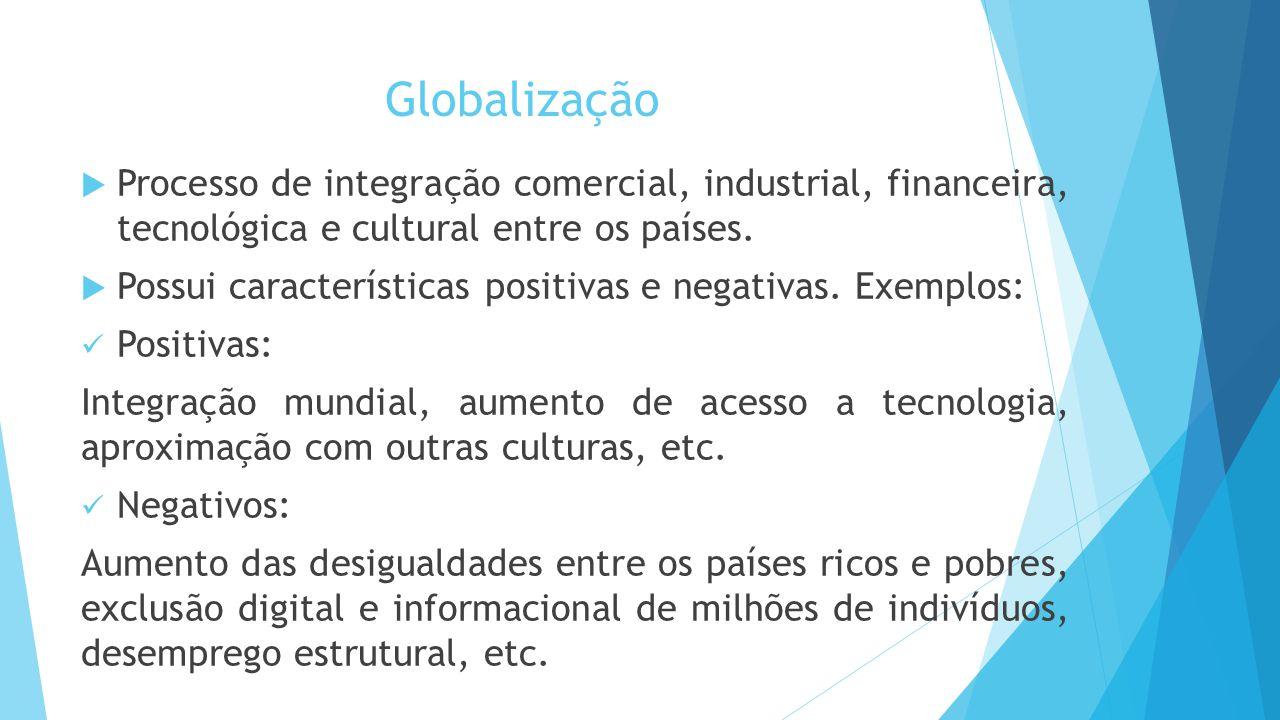 Globalização  Processo de integração comercial, industrial, financeira, tecnológica e cultural entre os países.