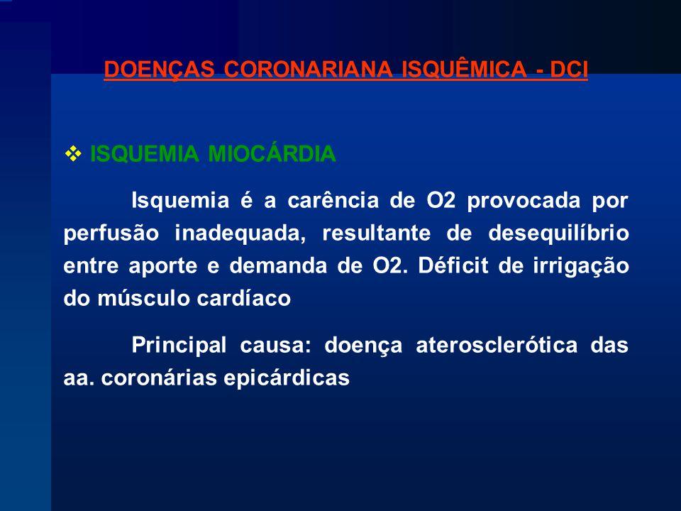 DOENÇAS CORONARIANA ISQUÊMICA - DCI  ISQUEMIA MIOCÁRDIA Isquemia é a carência de O2 provocada por perfusão inadequada, resultante de desequilíbrio entre aporte e demanda de O2.