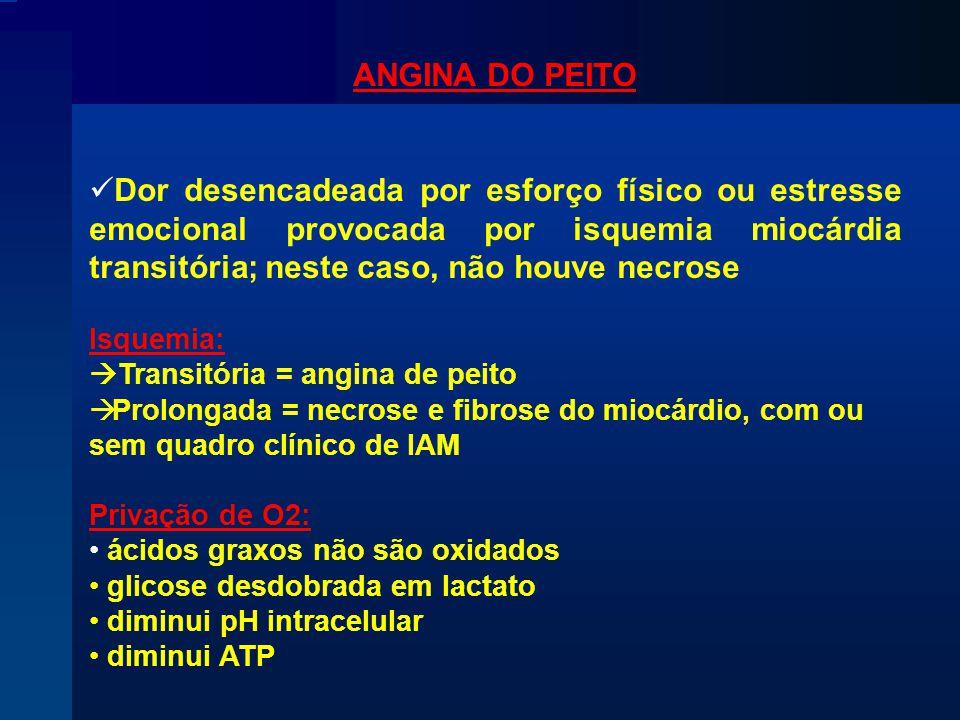 ANGINA DO PEITO Dor desencadeada por esforço físico ou estresse emocional provocada por isquemia miocárdia transitória; neste caso, não houve necrose Isquemia:  Transitória = angina de peito  Prolongada = necrose e fibrose do miocárdio, com ou sem quadro clínico de IAM Privação de O2: ácidos graxos não são oxidados glicose desdobrada em lactato diminui pH intracelular diminui ATP